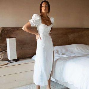 Danielle Bernstein Polka Dot Slip Maxi Dress
